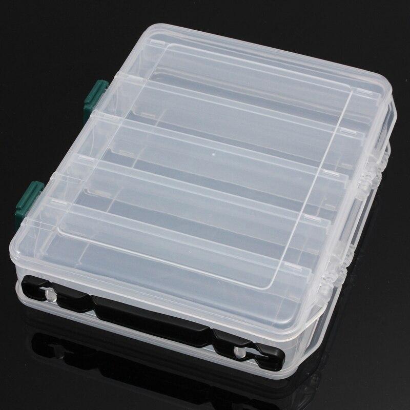 10 Compartiments En Plastique Leurre De Pêche Tackle Box Double Face De Pêche Tackle Box avec Poignée 20*16*4.7 cm