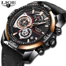 2018 nuevos relojes de moda para hombre LIGE Militray, reloj deportivo de cuarzo para hombre, reloj de pulsera informal de cuero impermeable para hombre, reloj Masculino