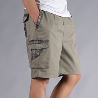 Men Shorts Summer Plus Size Cotton Elastic Waist Loose Army Green Male Cargo Shorts For Man