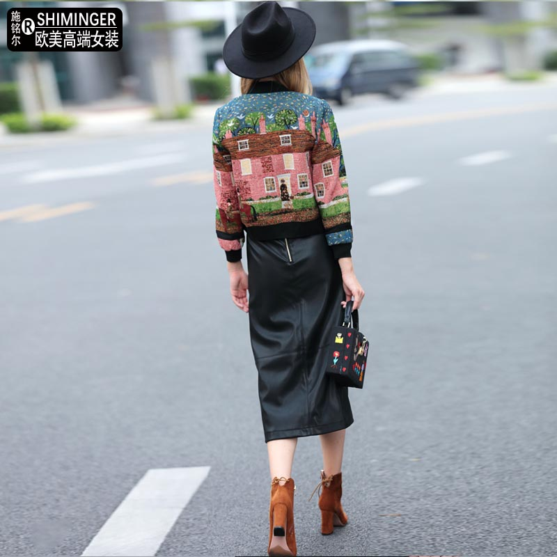 European station autumn new fashion brand embroidery short outwear tweed short jacket mandarin collar blazer w1854