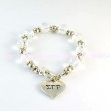 custom bracelet Jewelry  Sigma Gamma Rho Sorority sliver heart  charm  bracelet Jewelry 1pc