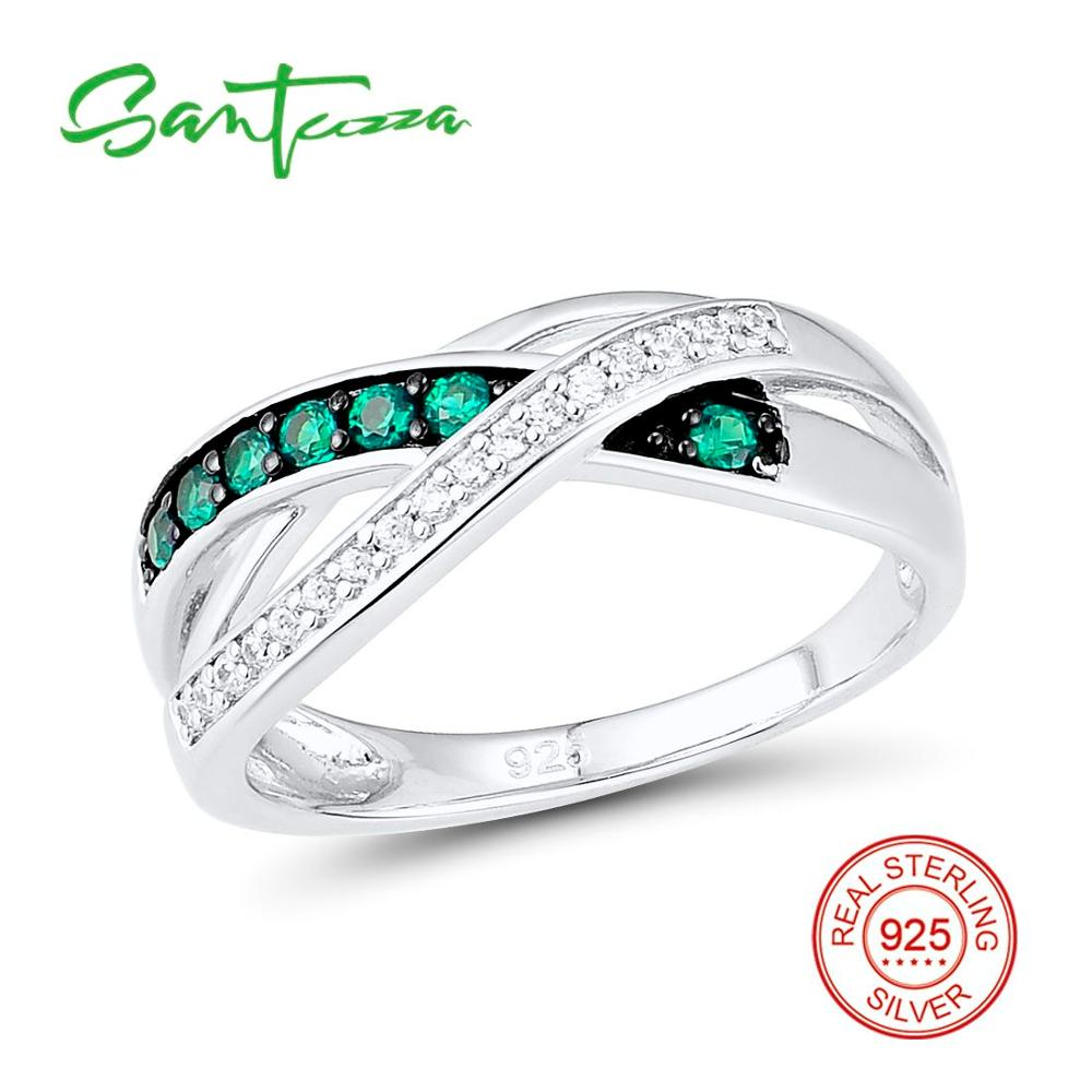Silver Rings for Women Green Spinels White Cubic Zirconia Stone Women Rings Pure 925 Sterling Silver