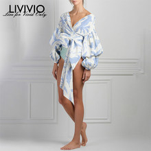 [LIVIVIO] Bow Print Shirt Female V Neck Lantern Sleeve Lace Up High Waist Pullover Shirts Fashion Spring Sweet Clothing(China)