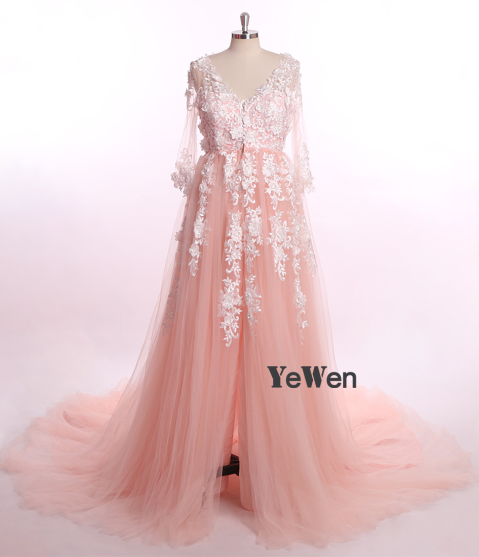 46bab6839ade0 2M Train luxury Lace Pregnant Photo dress Long Sleeve Pink Prom Evening  Dresses Gown Plus Size 2019 formal dress women elegant