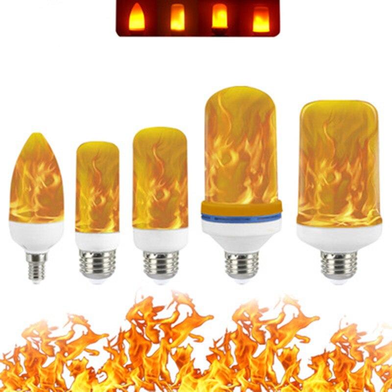 Full Model E27 E26 E14 E12 3W 5W 7W 9W Flame Bulb 85-265V LED Flame Effect Fire Light Bulbs Flickering Emulation Decor LED Lamp