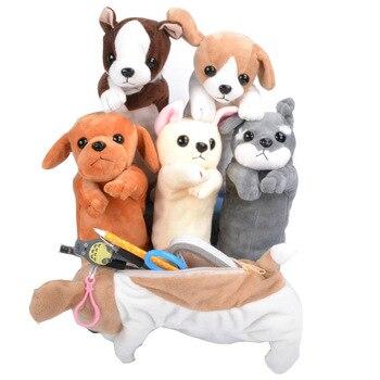 Оригинальный плюшевый манекен, ручка, сумка, мультяшный карандаш для животных, щенок, мех, игрушки, канцтовары, сумка