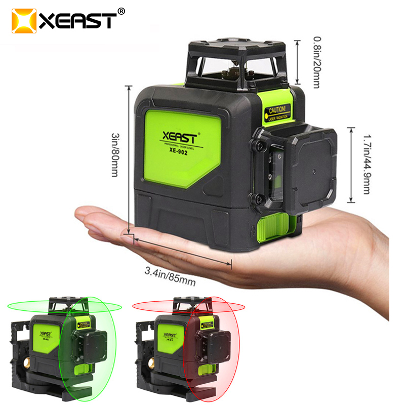 XEAST XE-902 8 line laser level 360 Self-leveling 3D Laser Level Vertical and Horizontal Cross Super Powerful Green Laser LevelXEAST XE-902 8 line laser level 360 Self-leveling 3D Laser Level Vertical and Horizontal Cross Super Powerful Green Laser Level