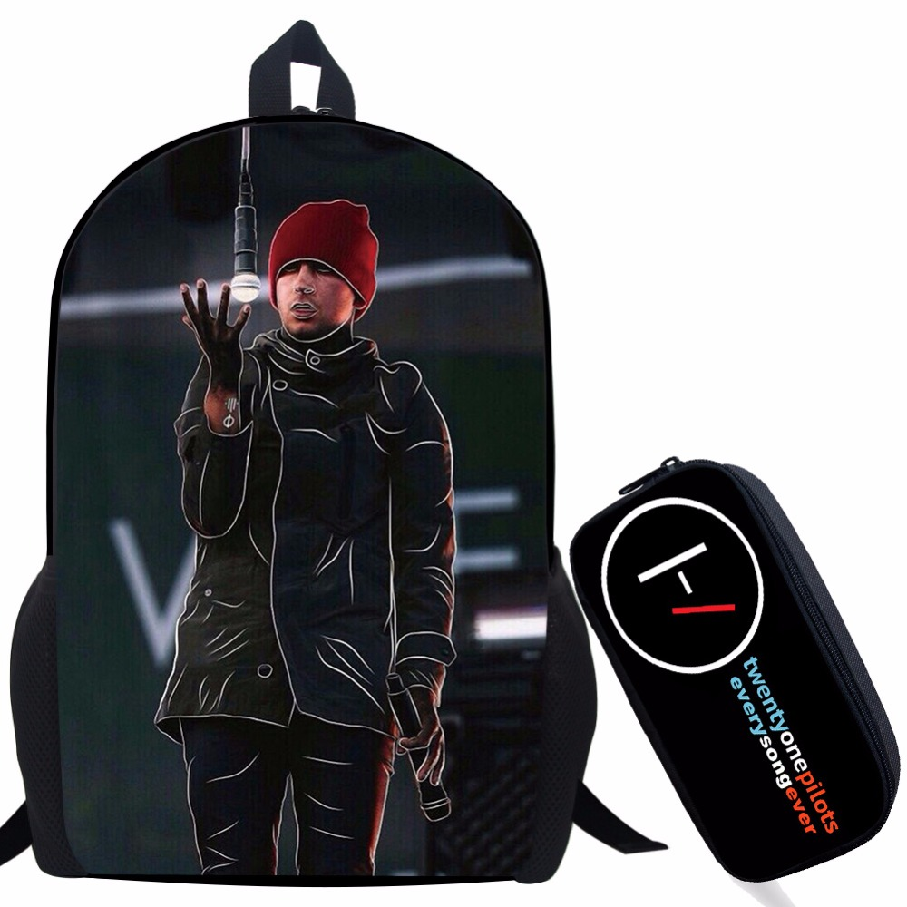 цены Twenty One Pilots Backpack For Teenage Boys Girls Student School Bags Children Daily Bag Hip Hop Backpack with Pencil Bag