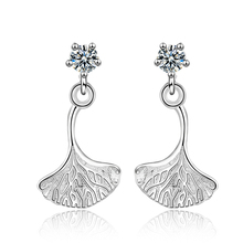 Everoyal Fashion 925 Silver Women Earrings Jewelry Shiny Zircon Leaf Female Stud For Girls Bride Wedding Accessories