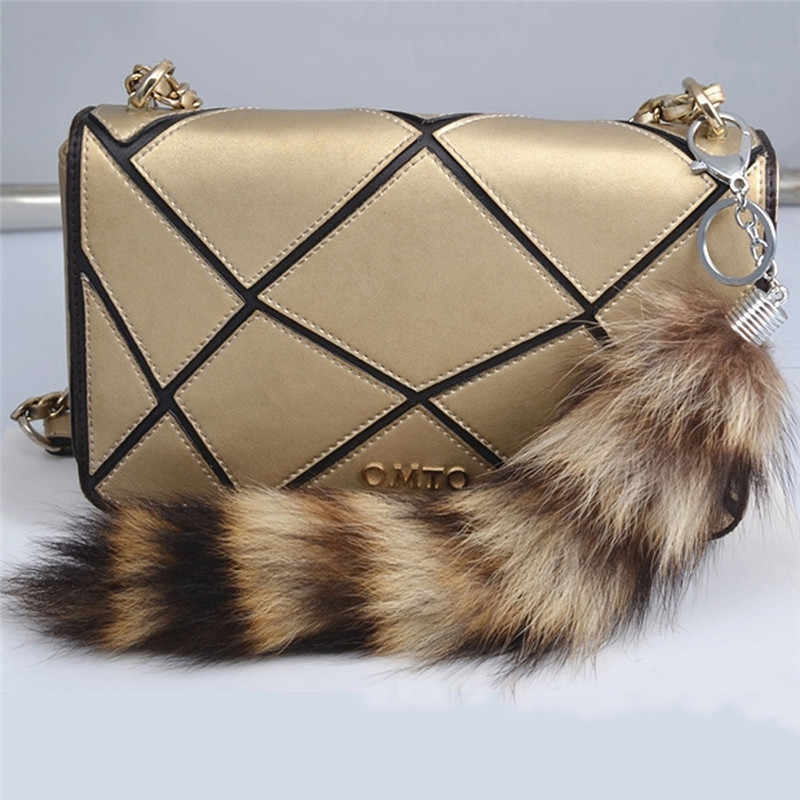 820fa644a3 ... 1PC Large Faux Raccoon Dog Fox Tail Fur Keychain Tassel Car Handbag  Keyring Charm Key Chain ...