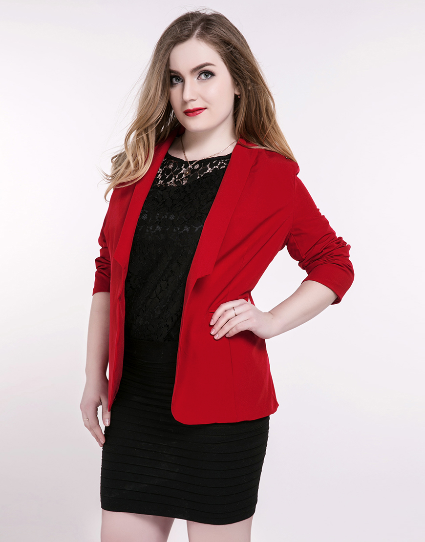 Cute Ann Women's Plus Size Casual Blazer Long Sleeve Red ...