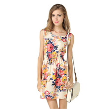women's summer chiffon sleeveless floral o neck Mini dress tunique femme clothing party gift to sisters
