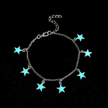 New blue luminous star beach wind tassel silver-plated anklet foot jewelry