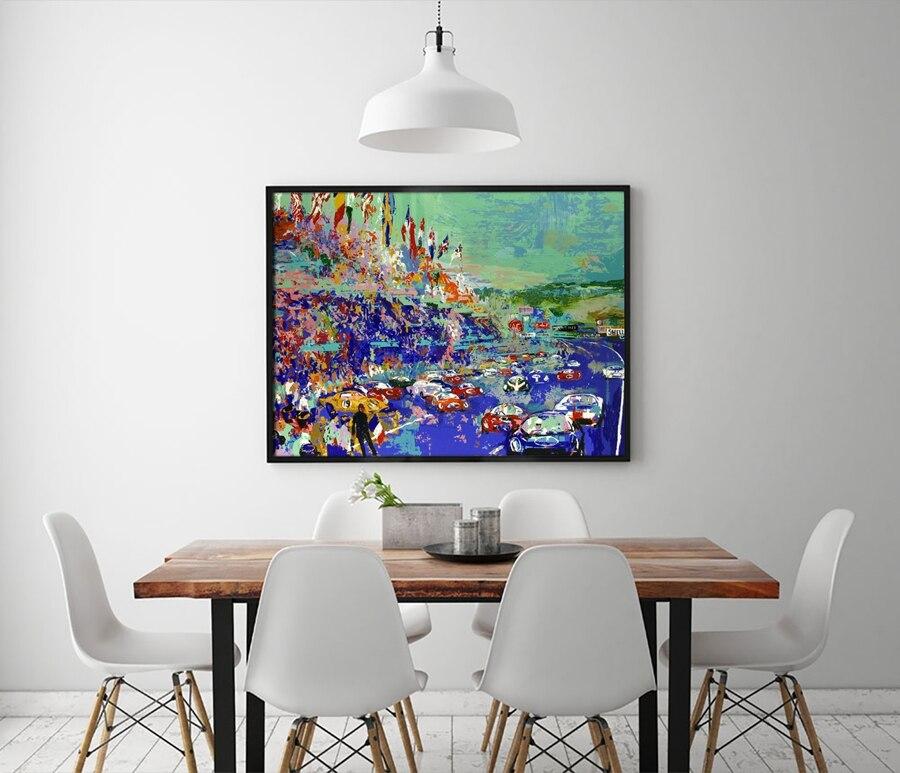 Online Shop A1874 LeRoy Neiman Abstrakte Fahren Spiel Auto Landschaft Hd Leinwand Druck Dekoration Wohnzimmer Wandbilder Malerei