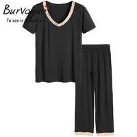 Burvogue Women New Modal Long Pajama Sets Cotton V Neck Pajamas Sleepwear Short Sleeve Pajamas With