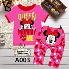 6M-2T 2 Pieces Set 95%Cotton infante Toddler Baby Girls Clothes Set Mouse Print Summer Cute Clothing T Shirt + Pants Sleepy 9M