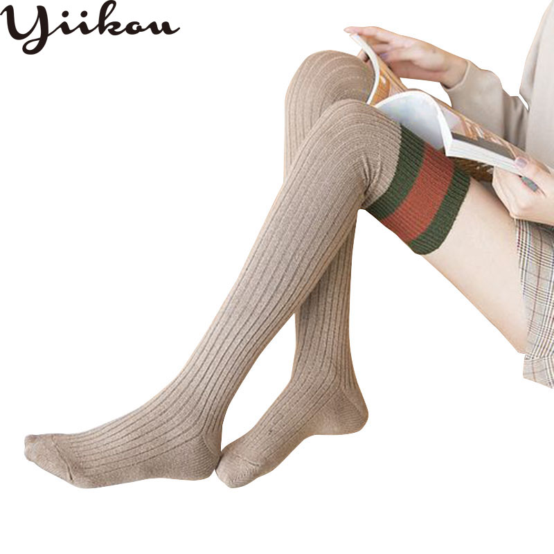 Female Autumn And Winter New Days Soft Yarn Knee Stockings Women's Three Bar Stripe Stockings Fashion Girls Stockings