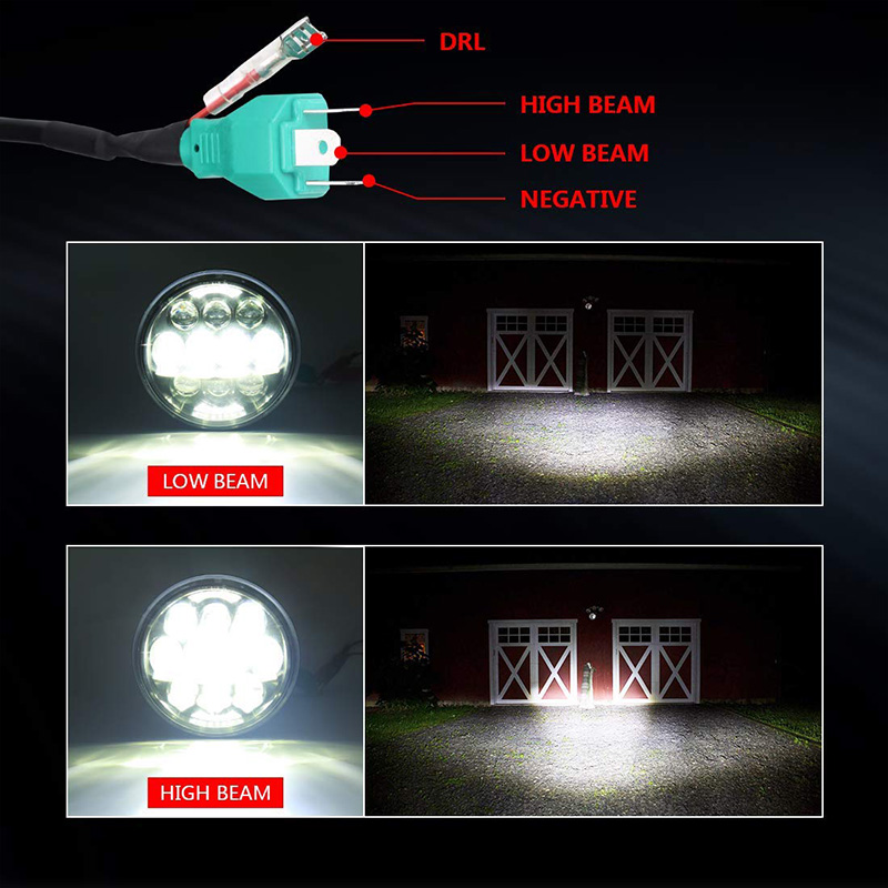 lowest price Motorcycle Accessories 5 75 Inch 80W H L Beam Front Driving Headlamp For Harley Dyna Street Bob DRL Angel Eye  LED Headlight