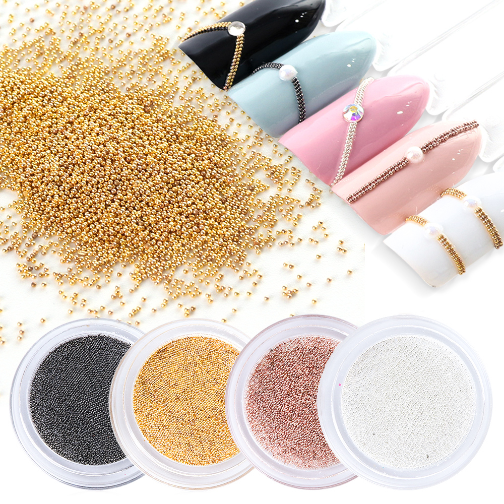 1 Stücke 0,4mm Nagel Perlen Metall Stahl Caviar Studs Nail Art Dekoration Rose Gold/gold/silber/ Grau 3d Glitter Charme Maniküre Ji829 Nagelglitzer