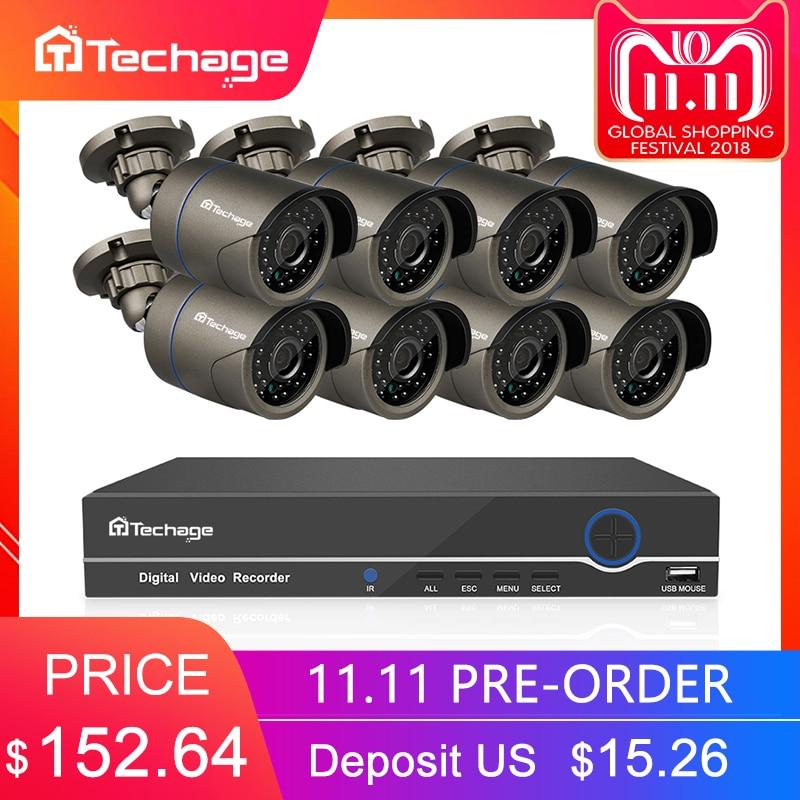 Techage 8CH 1080 p HDMI POE NVR Kit CCTV Sistema di Telecamere di 2MP Esterna di Sicurezza IP Macchina Fotografica P2P Video Sistema di Sorveglianza set di 2 tb HDD