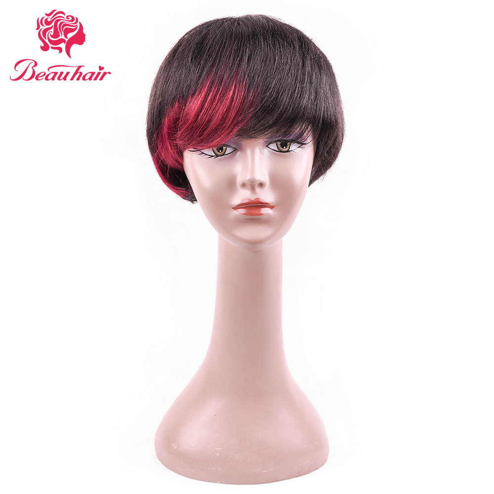 Beau Hair Red Ombre Human Hair Wig Short Bob Wigs For Africa Americans Brazilian Non Remy Hair Free Part Wigs