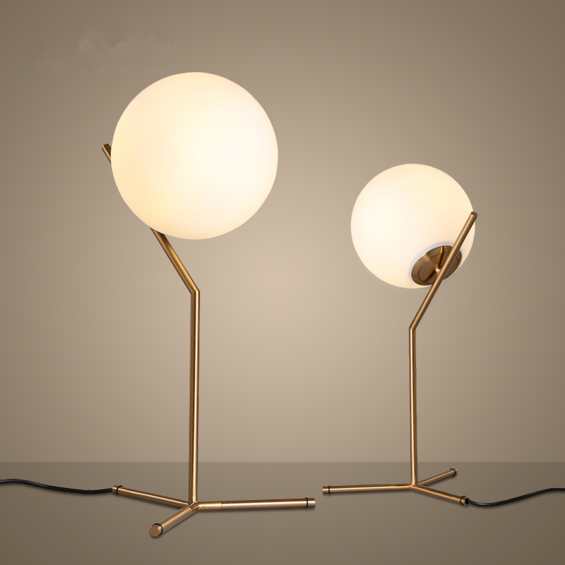 Best of Nordic Dia 20cm White Glass Ball Table Lamp Gold Bedside Table Lamps E27 LED Desk Light For Bedroom lamparas de mesa tafellamp in LED Table Lamps from Plan - Popular mirrored table lamp Minimalist