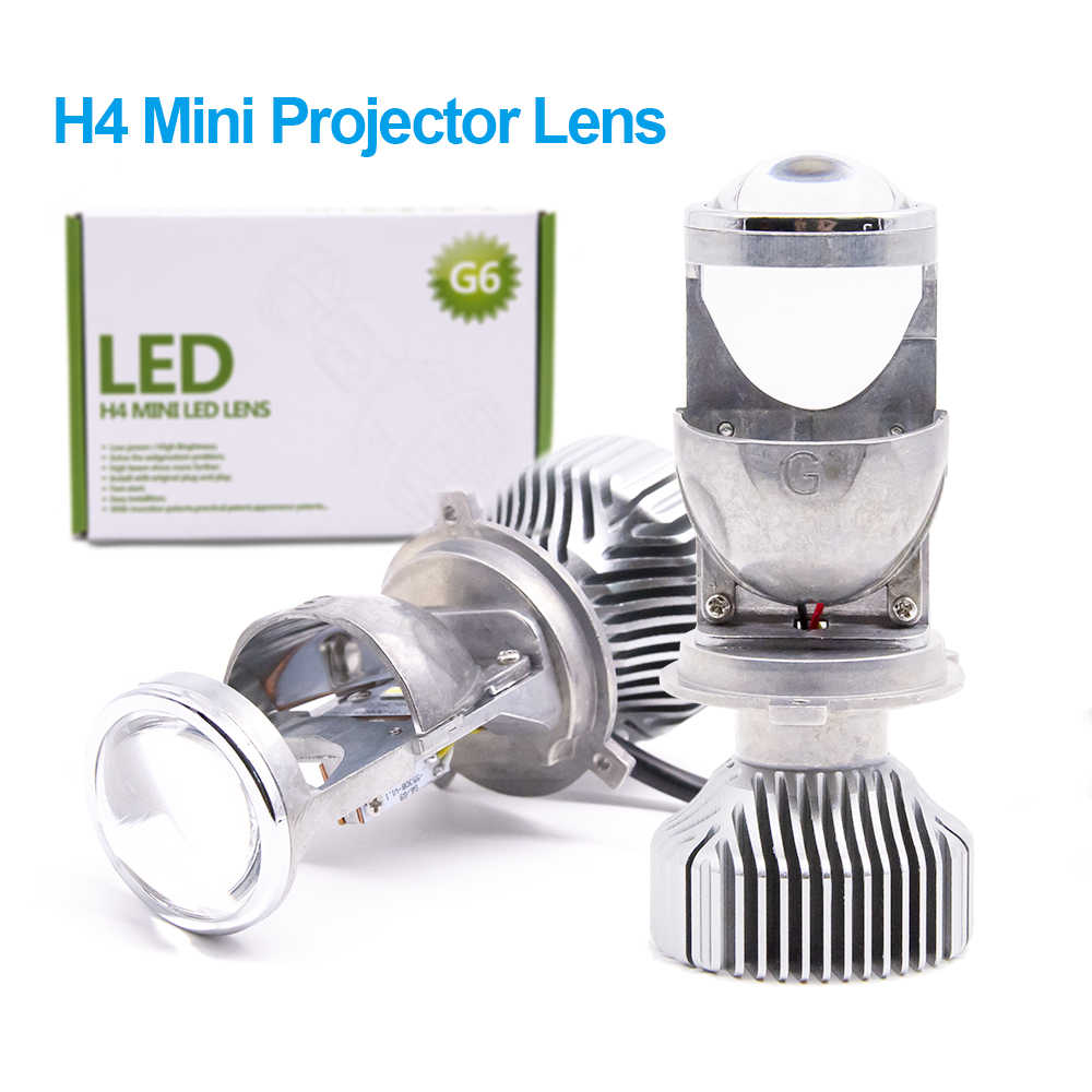2pcs 1.5 inch H4 LED Mini Projector Lens For Automobile Motorcycle High Low Beam LED Conversion Kit Lamp Headlight 12V/24V 5500K