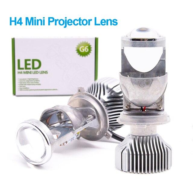 Flash Promo 2pcs 1.5 inch H4 LED Mini Projector Lens For Automobile Motorcycle High Low Beam LED Conversion Kit Lamp Headlight 12V/24V 5500K