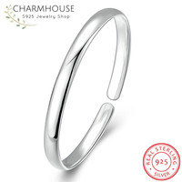 Solid Sterling Silver Bangles for Women Minimalist Style Simple Smooth Bangle & Bracelet Statement Jewelry Fashion Accessories