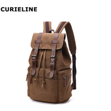 Cheap casual fashion computer double shoulder canvas book bag  canvas backpack double tassel canvas backpack
