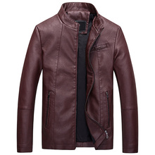 2017 Hot autumn and winter brand men 's leather jacket motorcycle casual jacket classic leather jacket coat slim solid color
