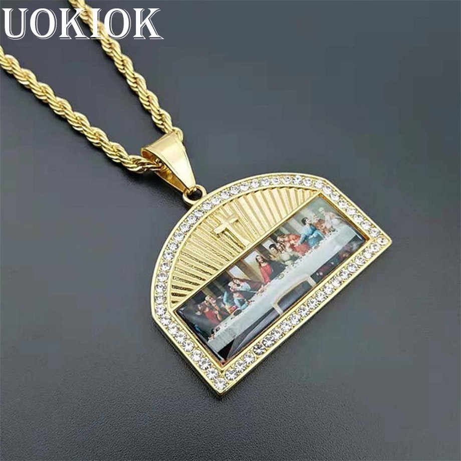 Hip Hop Iced Out The Last Supper Pendant Necklace Male Gold Color Stainless Steel Cross Necklaces Religious Jewelry