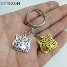 LPHZQH fashion hollow Exotic Cat keychain women handbag pendant accessories charm trendy car Key ring gift jewelery steampunk
