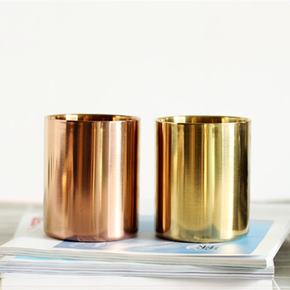 Rose Gold Stainless Steel Cylinder Pen Holder for Desk Organizer Stand Multi Use Pencil Pot Office Decor Supplies Europe Pot Cup tianse golden brass pen holder stainless steel metal desk accessories pencil stand pen pot stationery container office supplies