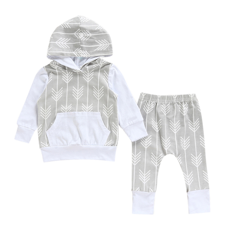 2PCS Newborn Baby Boys Girls Cotton Clothes Set Hooded Tops Long Sleeve+Pants Winter Autumn Hoodie Suit Infant Clothing 2017 New baby rompers new 100% cotton kids boys girls newborn clothes long sleeve infant spring summer autumn winter clothing