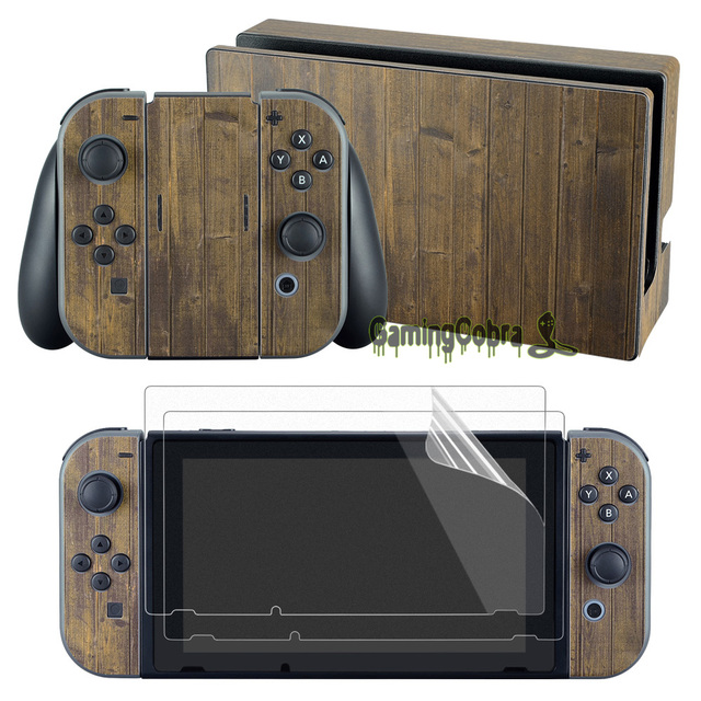 eXtremeRate Brown Wood Skin Sticker Covers 2 Pcs Screen Protectors