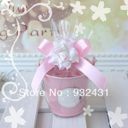 Luxury Mini Tin Bucket Pail Wedding Favor Candy Box Case Storage