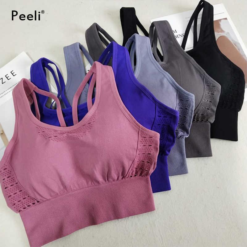 Peeli High Support Sports Bra Women Yoga Seamless Bra Push Up Gym Brassiere Padded Sport bh Female Workout Fitness Cropped Tops