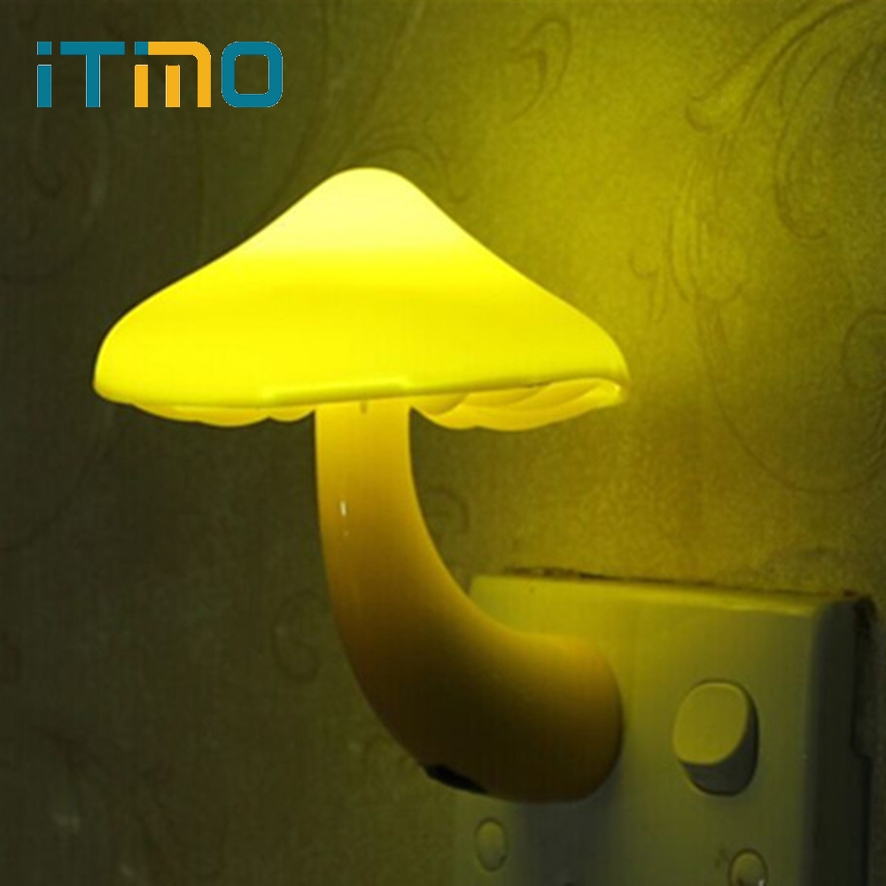 ITimo Warm Yellow EU US Plug Light-controlled Sensor LED Night Light Mushroom Wall Socket Lights