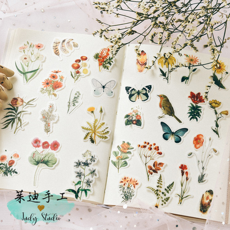 80pcs Vintage hand painted flowers mushroom butterfly bird feather fresh plants Decorative Sticker DIY Scrapbooking Label Diary80pcs Vintage hand painted flowers mushroom butterfly bird feather fresh plants Decorative Sticker DIY Scrapbooking Label Diary