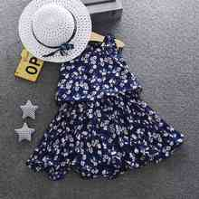Summer Children Princess Dress Baby Kids Girls Dresses Fashion Costumes With Matched Sun Hats