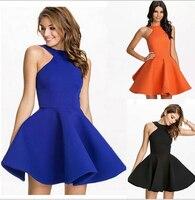 Azul/Naranja/Blanco/Negro Mini Corto Puffy Vestido De Prom Mujeres Niñas Lindo Verano Sin Espalda Acampanada Vestido de fiesta