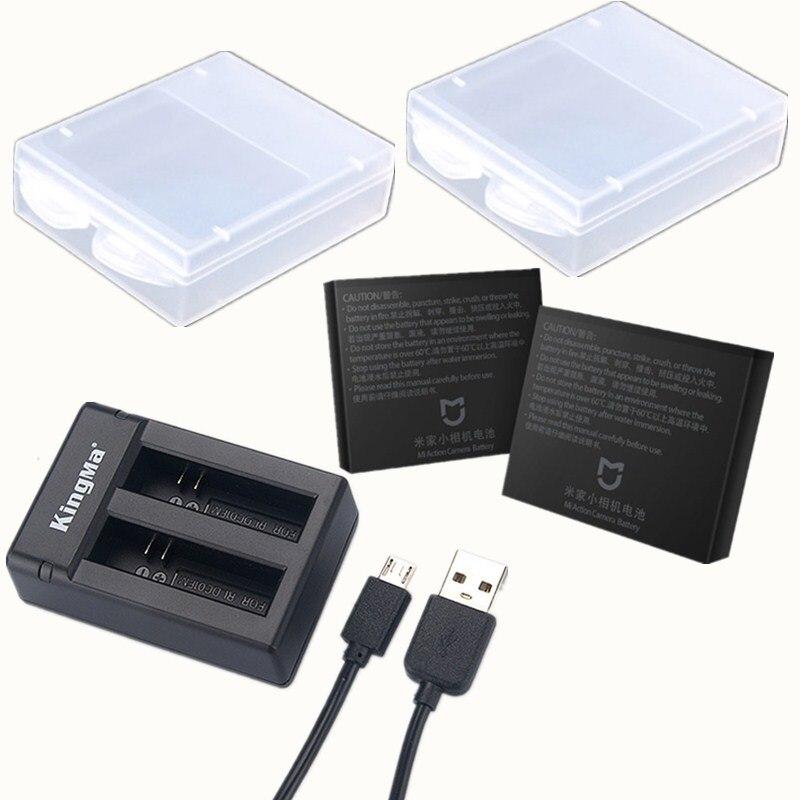 Mijia Original Battery KingMa Original Dual Battery Charger Charging Case For Xiaomi Mijia Mini Camera