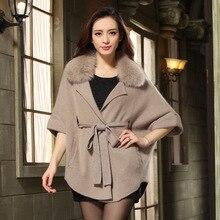 2016 New Rushed Mink Pelt Belt V-neck Vest Rabbit Coat Vest Winter Women Mink Collar Bat Sleeve Coat Outwear Jacket Brand Style