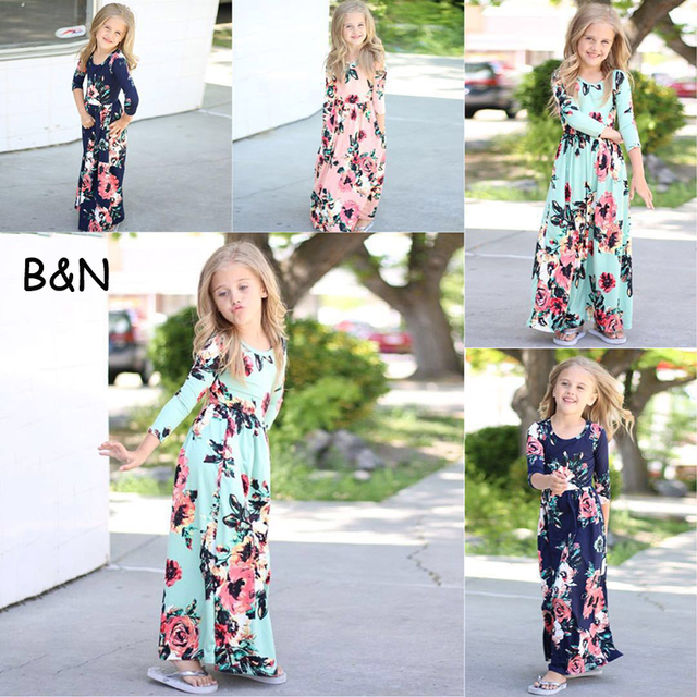 c133cf53097c B N Long Sleeve Party Kids Dress Floral Princess Girl Beach Dresses Spring  Summer Autumn Bohemian Baby Clothes