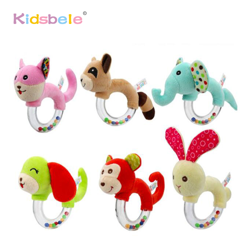 Baby Rattle Ring Bell Toys For Newborn Handbell Cute Animals Cotton Stuffed Baby Toys For 0-24 Months