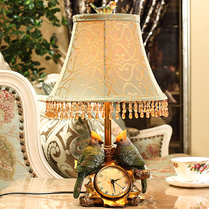European style table lamp clock bedroom bedside lamp simple modern bird garden fashion warm bedroom table light ZA99526 ceramic table lamp bedroom bedside lamp european style garden wedding fashion warmly decorated lamp dimmable