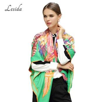LESIDA 100% Silk Scarf Women Large Shawls Feather Print Stoles Square Bandana Luxury Brand Kerchief Scarf Female Foulard 1306 6