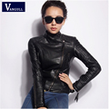 2016 Hot sell Spring and Autumn fashion faux leather motorcycle clothing design slim female short coat women PU jacket plus size