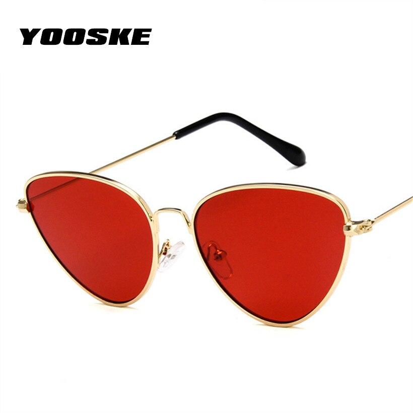 Yooske Ретро кошачий глаз Солнцезащитные очки для женщин Для женщин желтый красный объектив Защита от солнца очки мода свет Вес Защита от солнца стекло для Для женщин Винтаж из металла очки